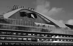 Golden Princess BW Departure (PhillMono) Tags: dslr d7100 travel cruise ship boat vessel golden princess voyage sydney harbour circular quay nikon black white sepia monochrome funnel reflection architecture balcony cabin