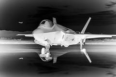 Australian Air Force in Arizona, variant (sjrankin) Tags: f35 f35a fighterjet fighterpilot airpower reflection sunset australian australia arizona lukeairforcebase unitedstates us 5february2019 edited usaf airforce unitedstatesairforce plane fighter jet 180627fsx095096 grayscale