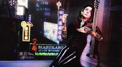 Soliloquy (Greeneyed System) Tags: leather rocker tattoos male longhair piercings guitar japan neon city night avatar plaid nerd nerdynerd elaboratepose window windowsill secondlife sl nightlife citylife maleavatar bento
