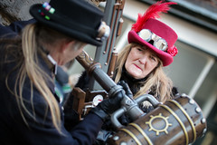 Battling Steampunks at the Whitby Steampunk Weekend V - Ohh La La (Gordon.A) Tags: yorkshire whitby steampunk whitbysteampunkweekend v wsw february 2019 convivial festival event eventphotography culture subculture lifestyle creative costume hat goggles people man lady woman model pose posed posing wall outdoor outdoors outside day daylight naturallight colour colours color amateur street portrait portraitphotography digital canon eos 750d sigma sigma50100mmf18dc