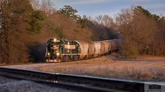 ACWR 200-25 Eagle Springs Tele 6939 (HeritageNY) Tags: eaglesprings northcarolina unitedstatesofamerica us aberdeen carolina western train sd403 sunset curve