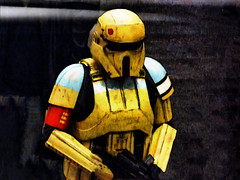 I Don't Like Mondays (Steve Taylor (Photography)) Tags: idontlikemondays digitalart black blue red yellow white contrast man newzealand nz southisland canterbury christchurch addington armageddonexpo armaggedon armour breastplate costume helmet outfit starwars stormtrooper