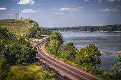 Missouri River & Highway 19 Bridge at Hermann, MO (donnieking1811) Tags: missouri hermann missouririver highway19bridge highway19 bridge outdoors water trees highway sky clouds blue railroadtracks hdr canon 60d lightroom photomatixpro
