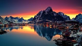 Norway - Reine - Panorama bei Nacht