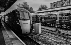 New Arrival (WorcesterBarry) Tags: bnw blackwhite travel transport trains places people lovebw light outdoors urban monochrome mono platform