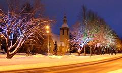 Winter evening (galinaderusia) Tags: winter evening outdoors snow lights church trees blue sky