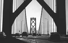 Crossing #3 (Pedro Freithas) Tags: oakland bay bridge san francisco area building california road freeway dark black white ponte arquitetura cabos cable concrete tunnel art fineart photography architecture city cityscape