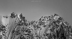 Les Sentinelles Figées (Frédéric Fossard) Tags: monochrome noiretblanc blackandwhite texture painting peinture cimes crêtes arêtes rocher gendarme montagne mountain neige glace ice glacier snow flancdemontagne nantblanc alpes hautesavoie massifdumontblanc paysage landscape mountainscape altitude hautemontagne alpinisme mountainridge