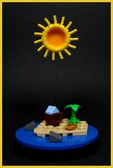 Island in the Sun (Karf Oohlu) Tags: lego moc vignette microscale nanoscale island sun islandinthesun palmtree shark crab bungalow