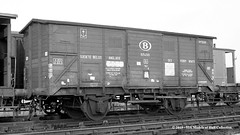 c.08/1964 - Cottingham South, Hull, East Yorkshire. (53A Models) Tags: britishrailways nmbssncb belgiumrailways riv ferryvan 1054519 goodswagon freightcar cottinghamsouth hull east yorkshire train railway locomotive railroad