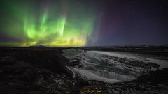 - gullfoss aurora - (verbildert) Tags: iceland aurora borealis gullfoss night northern lights stars samyang14mm d800 nikon