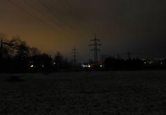 Dark wires (Ostravak83) Tags: ostrava výškovice 2018 nikoncoolpixp1000 p1000 ultrazoom noc night město city elektřina electricity dráty wires obloha sky nebe tma temnota darkness přesměstí suburbs periferie stromy trees stín shadow zima winter prosinec december