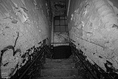 Lancashire Mill (jonathancoombes) Tags: lancashire mill cotton northwest stairs staircase blackandwhite explore haunted derelict monochrome urbex urbanexploration