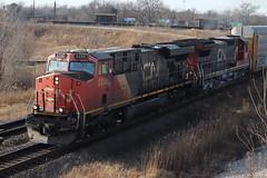 Autorack at Matteson (aquascissors) Tags: railroad railway railfanning rail rails railfan chicago matteson mattesonil cn canadiannational eje junction es44dc c408 gevo cngevo