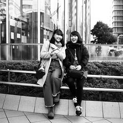 SMILE! (takana1964) Tags: streetphotography snap streetsnap street snapshot streetshot citysnap citystreet city cityphotography blackandwhite bw bnw monochrome girl osakacity japan olympus