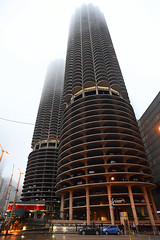 Marina Towers (Anthony Mark Images) Tags: marinatowers condos chicago apartments fog illinois usa architecture interesting apartmentbuildings nikon d850 cars parking