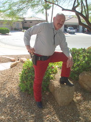 My Colt Python Pistol and Red Pants (Ted Shepherd) Tags: red corduroy cords pistol 357 python colt coltpython dhlawrence redtrousers outdoors outside holster bolotie bolo boots