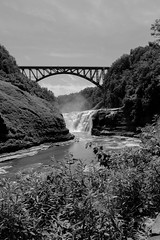Upper Falls at Letchworth State Park (Northern Wolf Photography) Tags: 14mm bridge clouds em5 forest leaves letchworth monochrome river statepark train trees waterfall woods castile newyork unitedstates us
