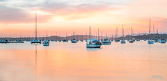 Valentine-panorama-3 (Mel Gray) Tags: lakemacquarie newsouthwales australia sunset lake boats water summer