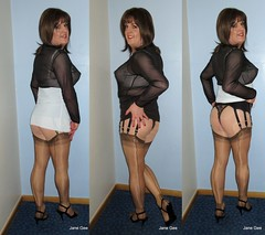 Chocolate Tee cake xx (janegeetgirl2) Tags: transvestite crossdresser crossdressing tgirl tv ts trans jane gee fully fashioned stockings garter suspender belt heels black chocolate white mini slip cuban heel sandals chiffon top collage