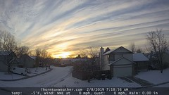 February 8, 2019 - Cool sunrise clouds. (ThorntonWeather.com)