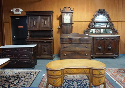Walnut Victorian Marble Top Buffet ($952.00) *Pictured far right against wall*
