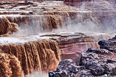Chocolate Falls (starborn-alchemy) Tags: water waterfall cliff nature river brown chocolate arizona canyon texture canon rocks mist sediment landscape outdoors hiking