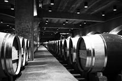 Barrels I (mgschiavon) Tags: wine madebyhumans california blackandwhite blackwhite bw indoors patterns