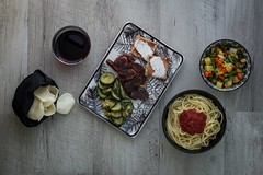 VarDiety (simone.pelatti) Tags: food meal dish dishes composition lunch table chips wine zucchini meat toast pasta spaghetti tomato vegetable wood grey variety diet