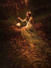Lost Feather ({jessica drossin}) Tags: jessicadrossin woman lantern light orange leaves pretty dress sheer painting face portrait profile wwwjessicadrossincom