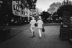 OLD LOVE (Zesk MF) Tags: bw black white mono street candid elderly zesk cologne x100f fuji strase couple walking human living