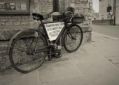 Stamford in sepia (Dun.can) Tags: stamford lincolnshire sepia blackwhite bicycle musicshop bridge