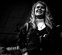 Bristol Photography students. (Neil. Moralee) Tags: bristol2019neilmoralee neilmoralee girl lady young candid street student bristol black white bw bandw blackandwhite mon monochrome nikon photographer smile dark contrast lpov viewpoint low hair blond blonde uk university west england uwe d7200 d80