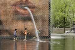 Crown Fountain in Millennium Park (TAC.Photography) Tags: crownfountain children playing splashing humor whimsicle chicago water fountain tomclarknet tacphotography nikon nikoncamera d7000
