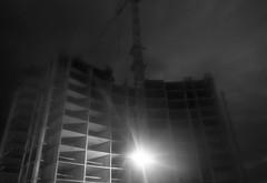 shine (Sergey Patskevich) Tags: ilfordpan100 canona1 constructioncrane towercrane building film dark night construction analog shine light industrial architecture sky gloom anthill urbanizedlandscape urban city