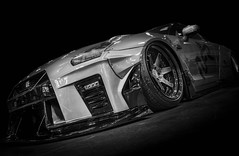 GT-R (Dave GRR) Tags: nissan gtt gtr gtr35 importfest toronto auto show 2018 widebody bodykit sportscar racingcar monochrome mono black white olympus
