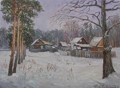 Дмитрий Алексеенко «Зимний пленэр», 2015 г. (Gostya) Tags: winter russianvillage russianart paintings art artists