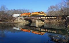 Fombell (GLC 392) Tags: connoquenessing river bridge fombell reflection tree trees city pa pennsylvania emd sd45 sd45r sd452 sd403 btnc buffalo pittsburgh pb bp bprr 451 3331 snow woods railroad railway train zelienople