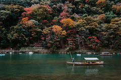 Autumn (Just Juls▲) Tags: autumn japan asia kyoto arashiyama travel landscape river water boat nature people