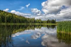 Serene Scene (Phil's Pixels) Tags: seeleylake seeleylakeprovincialpark lake clouds reflections yellowheadhighway hazelton britishcolumbia