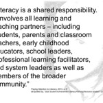 """Educational Postcard: """"Literacy is a shared responsibility. It involves all learning and teaching partners..."""