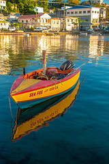 Sea Fox - Grenada-1864 (islandfella) Tags: carenage stgeorges grenada yellow boat fishing reflection caribbean waterfront sea evening island coastal