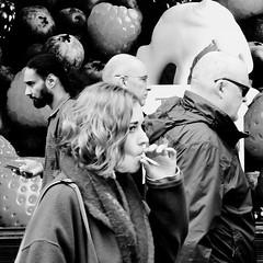 In need of a drag.... (markwilkins64) Tags: london strand street streetphotography candid smoking streetscene streetstory streetportraits fruit strawberry blueberry blackandwhite mono monochrome bw markwilkins womansmoker