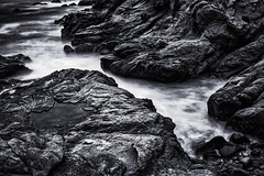 Ghostly Waters (PNW-Photography) Tags: shore beach ocean water waterscape longexposure california blackandwhite black white rocks rock rocky surreal