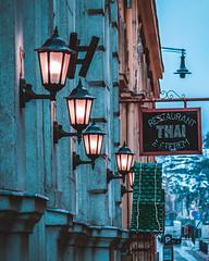 Streets of Budapest (Zsolt Szitai) Tags: budapest hungary canon450d canonphoto photo photography canon canonlens canon1785 canon450dphoto 450d eos evening blue bluehour bluetint lamps light restaurant aqua