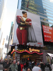 Shazam The Big Red Cheese Billboard 42nd St NYC 3645 (Brechtbug) Tags: shazam billboard 42nd street new captain marvel the big red cheese poster ad nyc 2019 times square movie billboards york city work working worker paint painting advertisement dc comic comics hero superhero alien dark knight bat adventure national periodicals publication book character near broadway shield s insignia blue forty second st fortysecond 03122019 lightning flight flying march