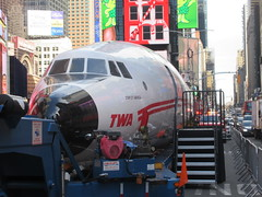 2019 Celebration of Retro TWA Hotel - Wingless Plane Times Square 4514 (Brechtbug) Tags: 2019 celebration retro twa hotel brooklyn wingless 1958 lockheed constellation connie l1649a starliner airplane visits times square before heading trans world airlines new yorks john f kennedy international airport known york anderson field commonly idlewild city march 23rd nyc 02232019