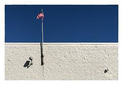 White Wall with Flag & Sky... (Timothy Valentine) Tags: lamp flag shopping wednesday 5050 securitycamera shadow sky wall 2019 0319 large abington massachusetts unitedstatesofamerica us