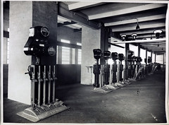 Caulfield Substation. Siemens Rotary and Feeder Pedestals and Operating levers. (Public Record Office Victoria) Tags: railways train electrification blackandwhite archives victoria caulfield substation siemens rotary operating levers machinery 1919