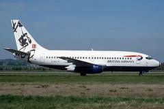 G-BGJE British Airways 'Rendezvous' Boeing 737-236 at Edinburgh in Summer 1997 (Zone 49 Photography) Tags: aircraft airliner airlines airport aviation plane 1998 edi egph edinburgh turnhouse scotland ba baw british airways britishairways boeing737 boeing 737 200 236 gbgje germany rendezvous